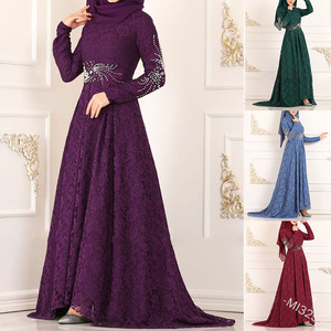Wepbel Muslim Women Lace Dress Plus Size Arab Abaya High Waist Big Swing Robe Casual Muslim Slim Fit Party Maxi Dress