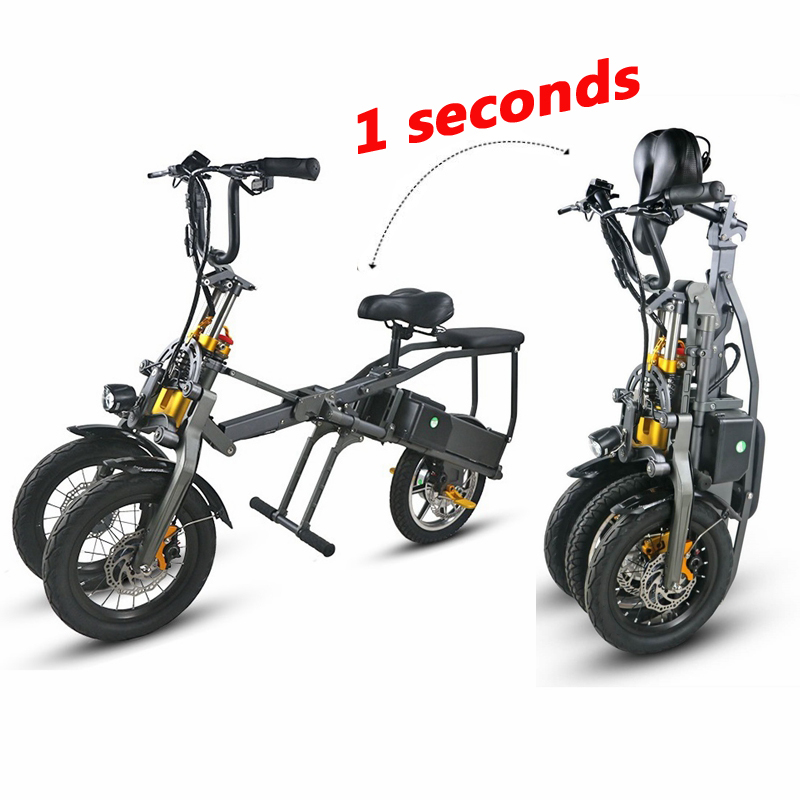 JX003 High Speed 14 Inch Folding Electric Scooter High-end 350W Electric Tricycle with Lithium Battery 1