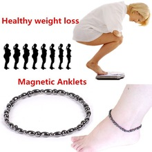 Vintage Black Magnetic Therapy Anklet Shellhard koraliki łańcuszek na kostkę zdrowa utrata masy ciała bransoletka na kostkę dla kobiet mężczyzn biżuteria kostki cheap Pierścień magnetyczny toe SYZ033
