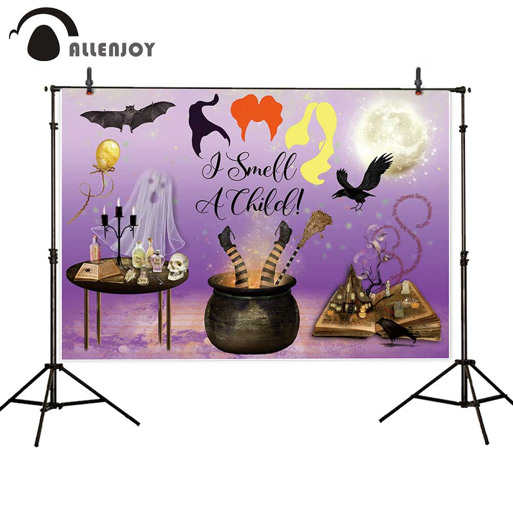 Allenjoy Hocus Halloween party backdrop banner I smell a child decoration ghost Witch kids photography background photocall