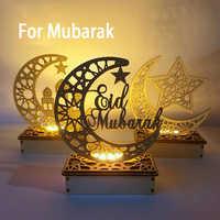 Suministros de decoración para el hogar, artesanías de madera Eid Mubarak, decoración de Ramadán y Eid, para fiesta musulmana islámica, Ramadán, Eid, Adha
