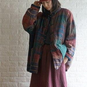 Image 5 - Новинка 2019, зимнее Модное теплое хлопковое плотное пальто в клетку с пряжкой, новое хлопковое льняное женское ретро пальто с длинным рукавом