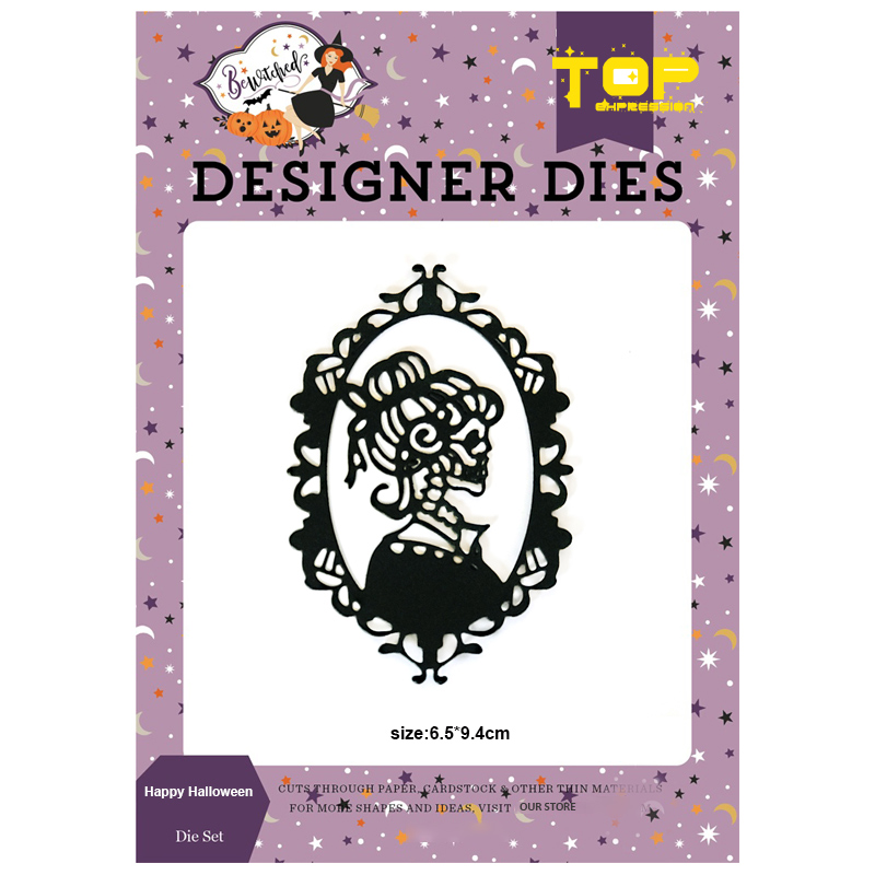 Skeleton Woman <font><b>Dies</b></font> Happy <font><b>Halloween</b></font> Metal Cutting <font><b>Dies</b></font> Scrapbooking frame Craft <font><b>Die</b></font> Cut Carbon Steel Create <font><b>Stamps</b></font> <font><b>and</b></font> <font><b>Dies</b></font> image