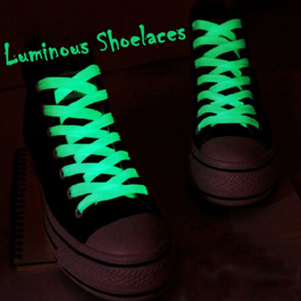 1 Pair 60cm Flat Reflective Runner Shoe Laces Safety Luminous Glowing Shoelaces Unisex For Sport Basketball Canvas Shoes