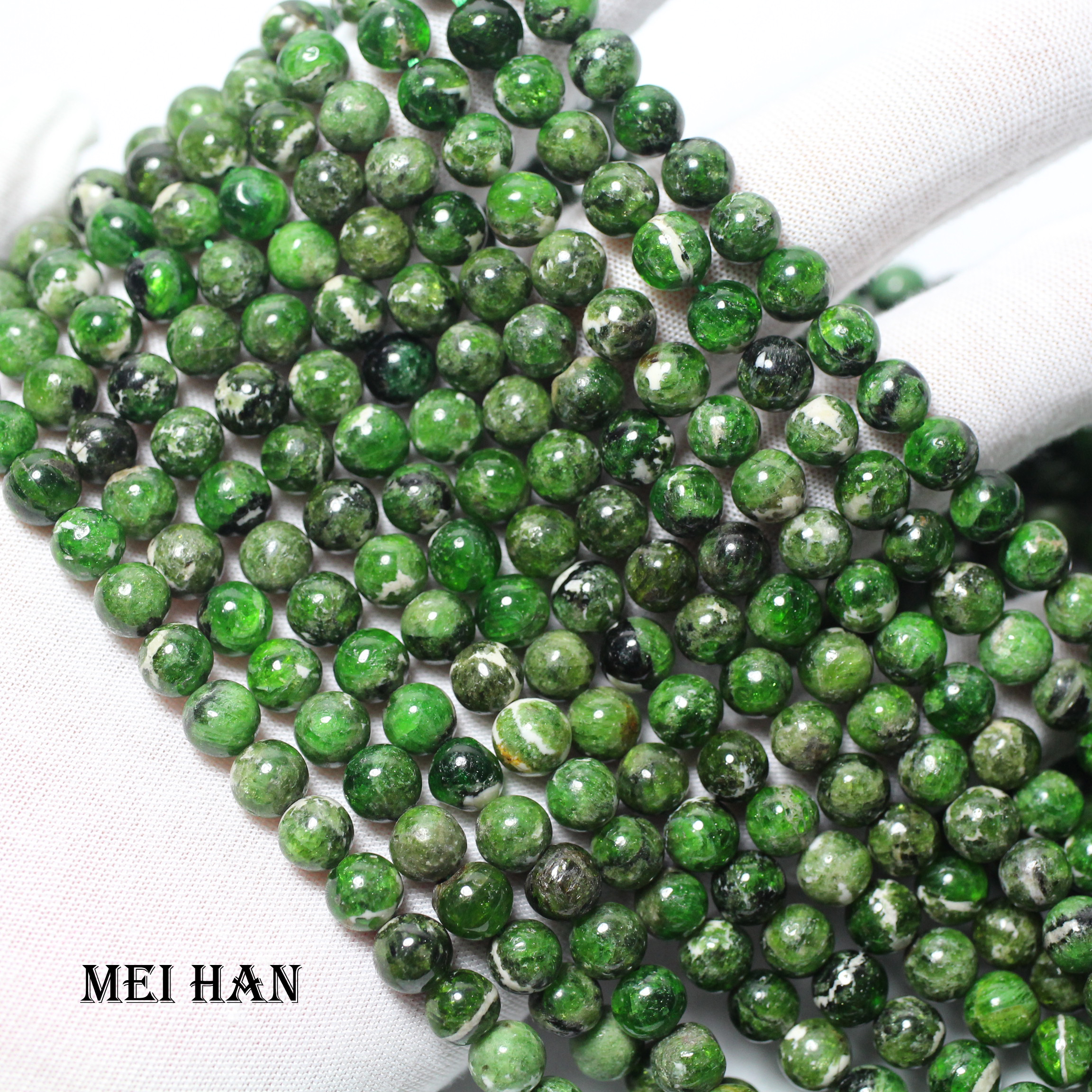 Meihan natural green chrome diopside 7+ 0.2mm smooth round loose stone beads for jewelry making DIY design-in Beads from Jewelry & Accessories