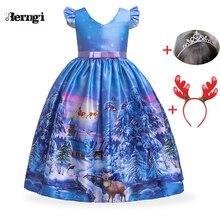 Г. Новогоднее Длинное разноцветное платье принцессы для девочек детское платье в европейском и американском стиле с принтом, рождественское праздничное платье