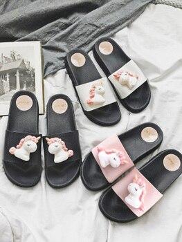 2020 new trend cute Cartoon Unicorns platform home flip-flops Shoes women girls student summer Beach house bathroom slippers 2