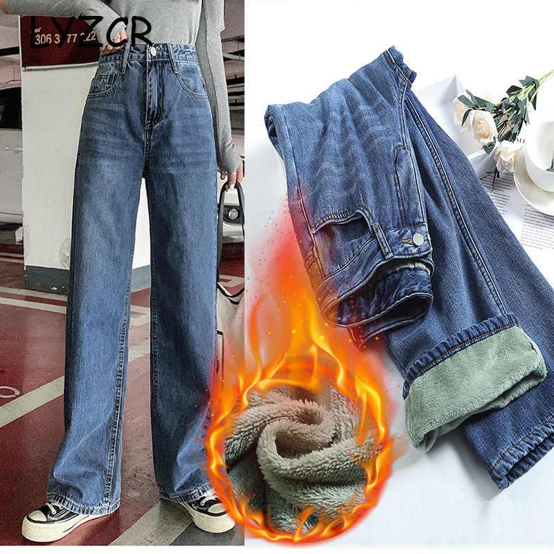 LYZCR Brede Been Warm Jeans Voor Vrouwen Losse Winter Fleece Fluwelen Jeans Met Hoge Taille Fleece Jeans Vrouwelijke Broek Denim jumper
