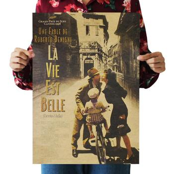La Vita Bella Beautiful Life Classic Movie Kraft Paper Poster Bar Cafe Decoration Painting Wall Stickers 36 X 51.5cm image