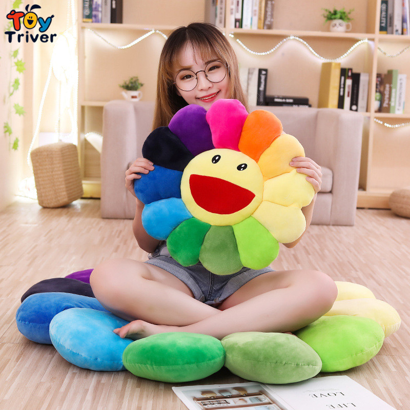 Smile Face Sunflower Sun Flower Plush Toy Triver Stuffed Doll Cushion Mat Home Room Car Shop Restaurant Decor Girl Birthday Gift