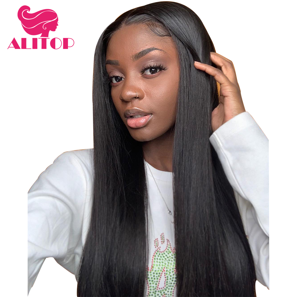 ALITOP Hair Straight 360 Lace Frontal Wig With Baby Hair For Black Woman Natura Color Brazilian Remy Human Hair Lace Front Wigs