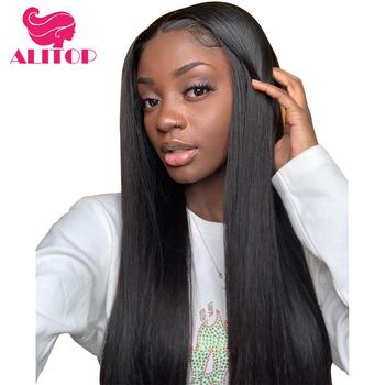ALITOP Hair Straight 360 koronkowa peruka z dzieckiem włosy dla czarnej kobiety Natura kolor brazylijski Remy ludzki włos koronki przodu peruki tanie i dobre opinie Aliruler Remy włosy Proste Brazylijski włosy Średnia wielkość Średni brąz Wszystkie kolory Swiss koronki Natural Color