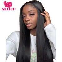 ALITOP cheveux droite 360 dentelle frontale perruque avec bébé cheveux pour femme noire Natura couleur brésilienne Remy cheveux humains dentelle avant perruques