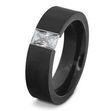 Black Titanium Steel Ring Men Zircon Wedding Finger Rings For Women Vintage Fashion Engagement Ring Couple Lover Ladies Rings