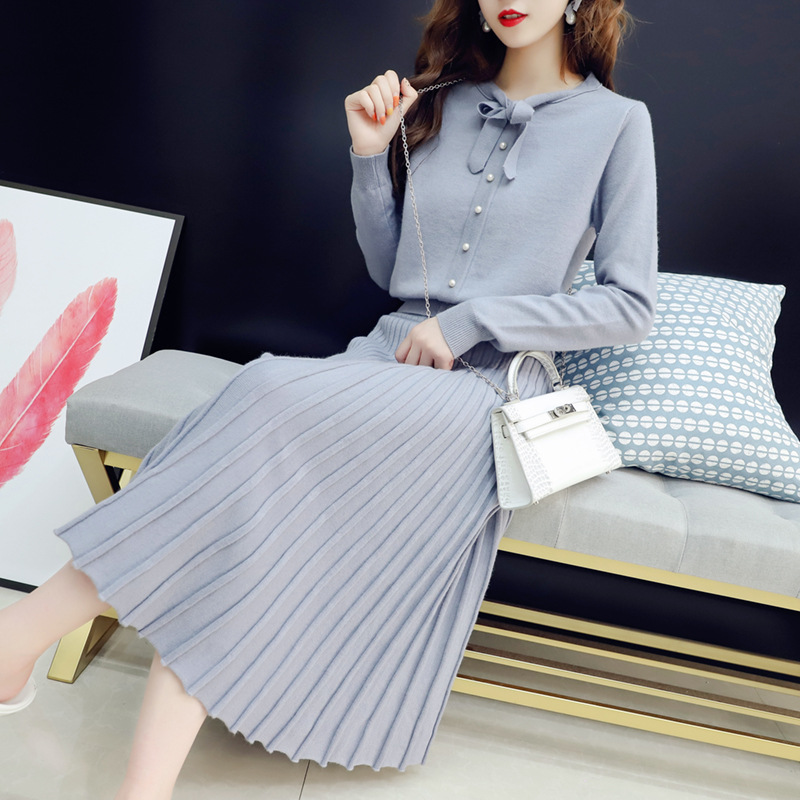 2019 Autumn Clothing New Style Korean-style Lace-up Sweater With Mid-length Dress-Style Set Fashion Korean-style Two-Piece Set