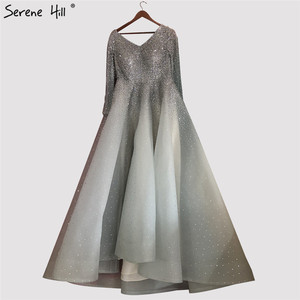 Image 5 - Dubai Wine Red V Neck High end Sexy Evening Dresses 2020 Long Sleeve Crystal Luxury Evening Gowns Design Serene Hill LA70272