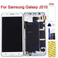 Per Samsung Galaxy J5 2016 Display LCD J510 SM J510F J510FN J510M J510Y/DS del Pannello LCD + Touch Screen digitizer Telaio di Montaggio