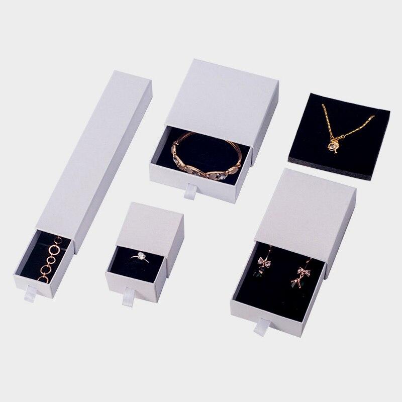 Custom Logo White Drawer Jewelry Box 9x9cm 5x5cm Hard Paper Ring Earring Display Boxes Jewelry Necklace Pendant Storage Box