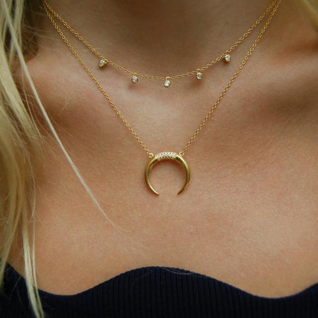 New 925 sterling silver cz Crescent Pendente Collana In Argento/Oro di Colore Cubic Zirconia CZ Islam Moon Star Dei Monili Delle Donne regalo