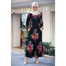 Pockets Floral Print Hijab Dress Fz2012Sh06 Siyah-Fz2012Sh