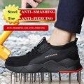 Novos homens sapatos de segurança de aço toe anti esmagamento kevlar anti punctura sapatos segurança respirável indestrutível trabalho unisex sapatos