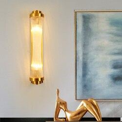Postmodernistyczna luksusowa złota taśma szklana LED kinkiet oświetlenie nocne do sypialni schody alejek oprawa hotelowa oświetlenie do pokoju|Wewnętrzne kinkiety LED|Lampy i oświetlenie -