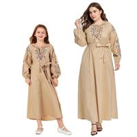 Autumn Mother Daughter Long Dress Full sleeve Mommy and Big Girls Dresses Family Matching Outfits Chic Floral Embroidery Khaki