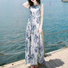 #30 Vestido largo vestidos de verano de mujer de moda verano vendaje Mid-Calf sin mangas Vestido estampado de playa un Vestido de línea Vestido Blanco.