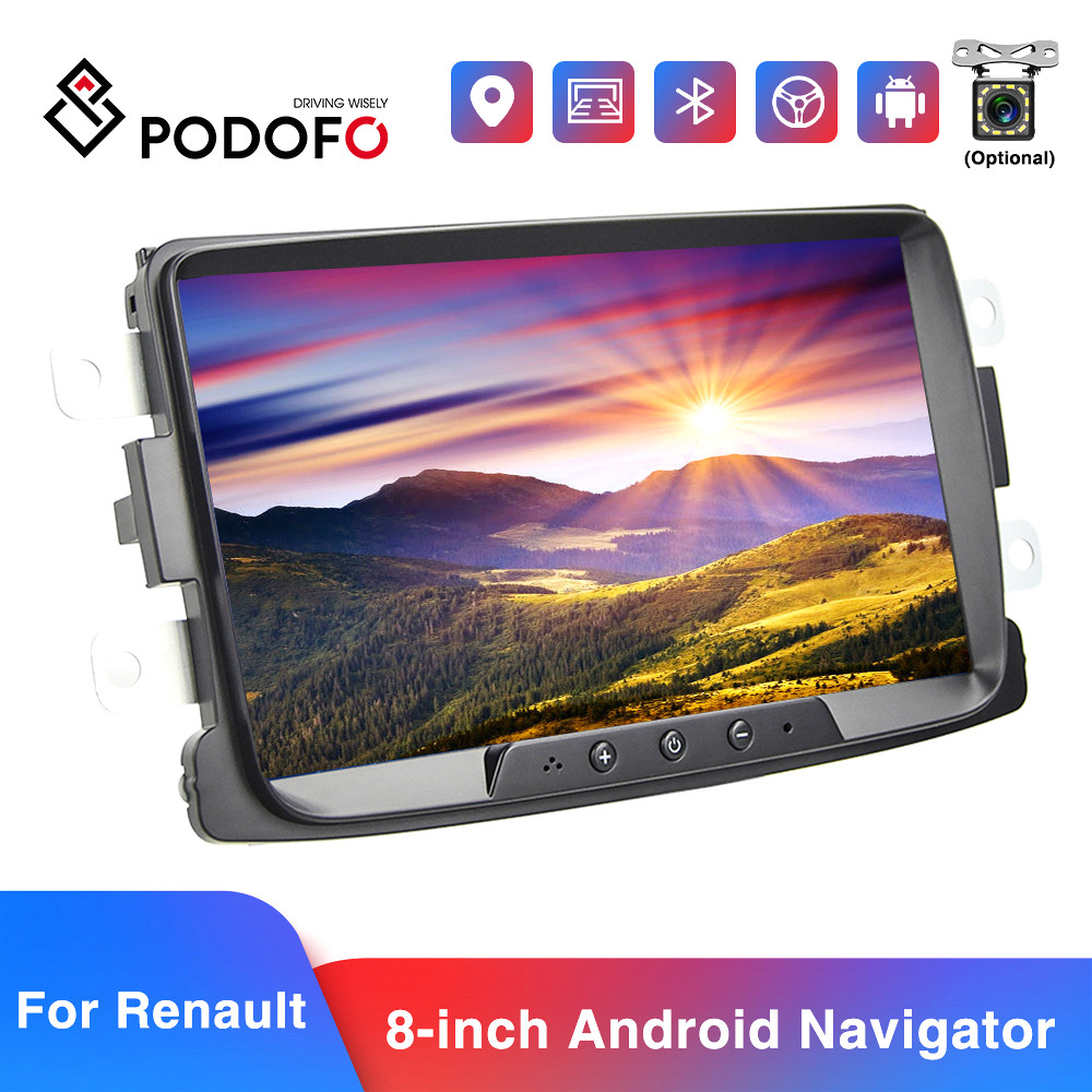 Podofo 2din Car Radio Android 8.1 Car Multimedia Player GPS Bluetooth WIFI Mirrorlink Car Stereo For Renault Duster/Logan/Dokker