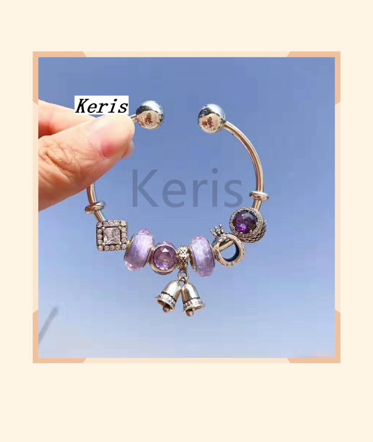 High-Quality Replica 1:1 100%925 Pure Silver 2019 New Purple Glaze Cat Eye Bell Chain Bracelet Free Delivery