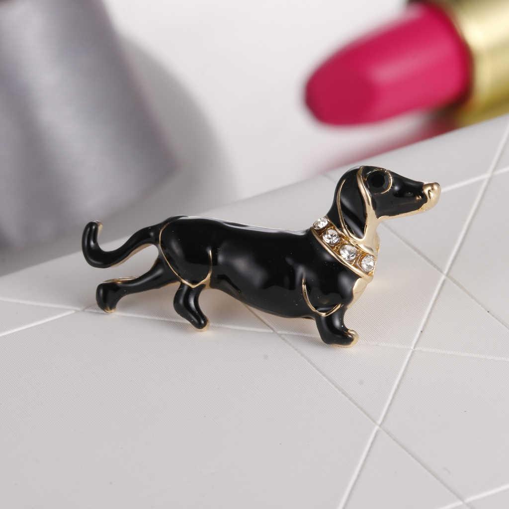 Lucu Kristal Berlian Imitasi Dachshund Anjing Hewan Bros Pin Wanita Perhiasan Hadiah