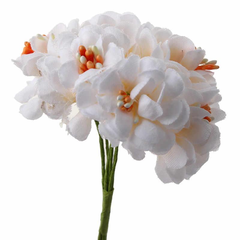 6pcs panno di cotone Handmake Stame Fiori Artificiali Bouquet per la Decorazione di Cerimonia Nuziale Corona FAI DA TE Regalo del Mestiere di Scrapbooking Falso Flo