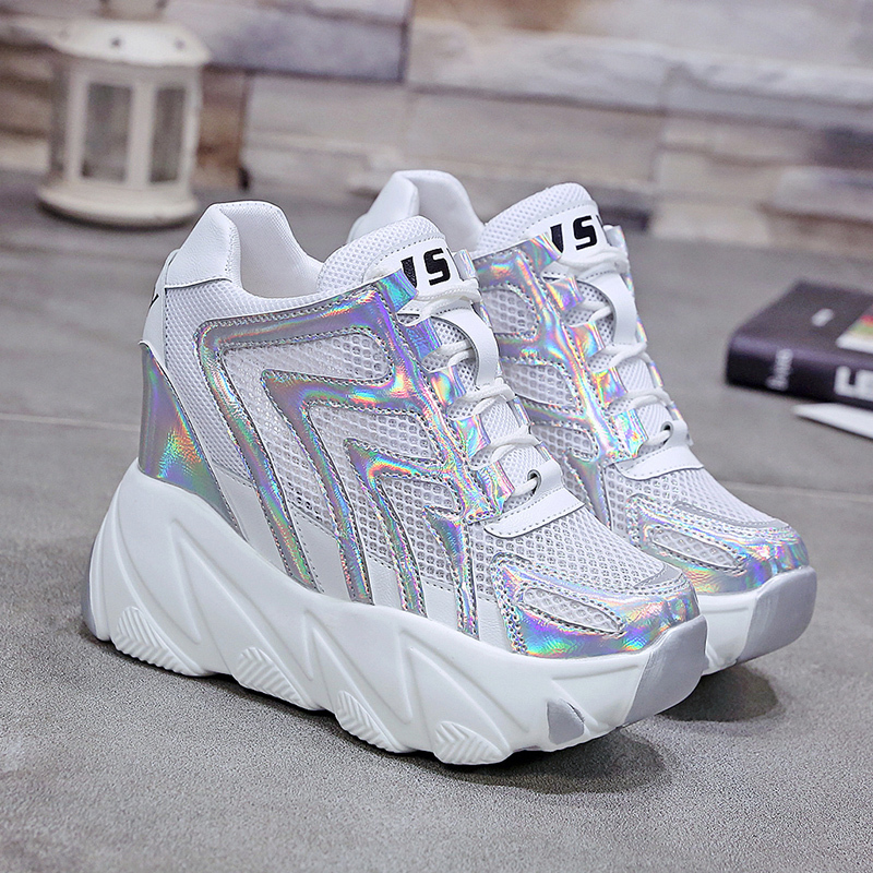 Women's Hidden Heels Breathable Air Mesh Silver Laser Casual Shoes Woman Height Increasing Lace Up High Platform Sneakers YH-47