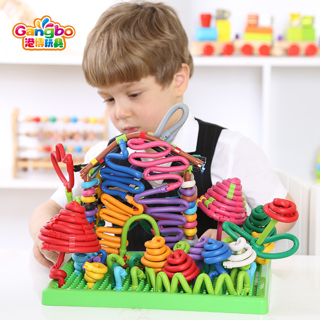 400pcs 2019 New Models Magnetic Rod Intelligence For Children Diy Hand Made Toys Creative Mosaic Torsion