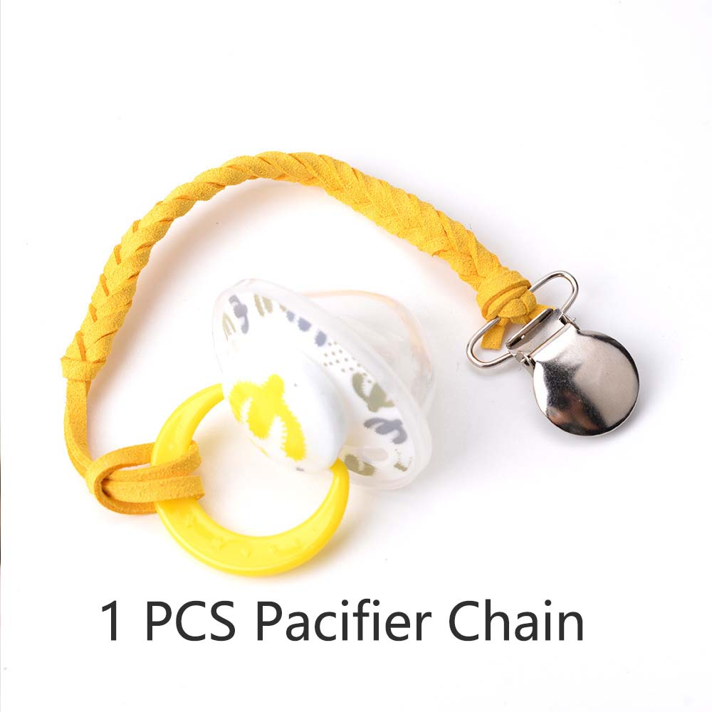 Leather Pacifier Clips Chain Dummy Clip Pacifier Holder Nipple Soother Chain For Infant Baby Kids Children Feeding Accessories