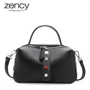 Image 2 - Zency 100% Real Cowhideหนังแฟชั่นผู้หญิงกระเป๋าCrossbodyคุณภาพสูงกระเป๋าถือไหล่กระเป๋าสีชมพูสีแดงสีดำ