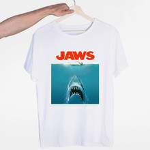 Men's Jaws Movie Vintage Poster Shark T-shirt O-Neck Short Sleeves Summer Casual Fashion Unisex Men and Women Tshirt