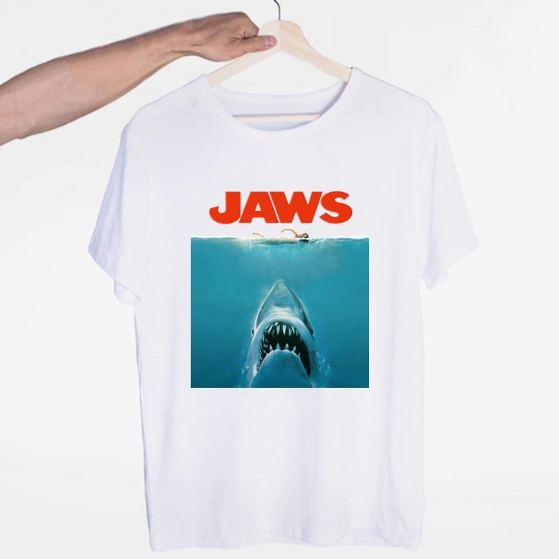 Men s Jaws Movie Vintage Poster Shark T shirt O Neck Short Sleeves Summer Casual Fashion