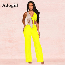 Adogirl Color Patchwork Two Pieces Set Tie Up V-neck Spliced Tops Long Wide Pants Night Club Outfits Women Elegant Tracksuit