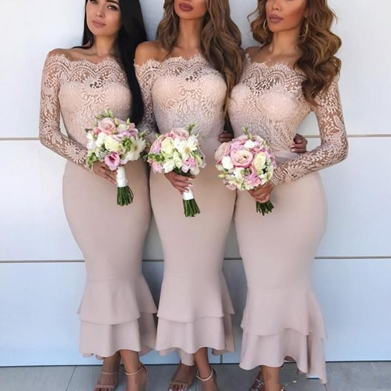 Long Sleeves Bridesmaid Dresses Off The Shoulder Satin And Lace Tiered Mermaid Maid Of The Honor Dress Ankle Length Prom Dress