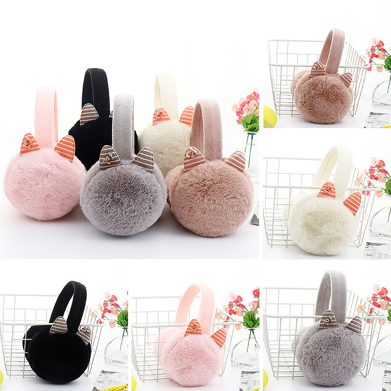 2020 New Winter Cartoon 3D Ear Warmer Rabbit Ear Earmuffs Women Girl Fur Plush Ear Warmer Muffs Plush Warm Women Ear Protect