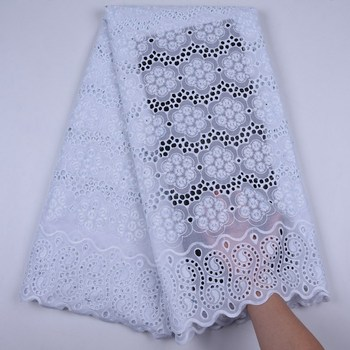 Pure White African Lace Fabrics 2019 High Quality Cotton Lace For Women Dress Lace Fabric Swiss Voile Lace In Switzerland S1723