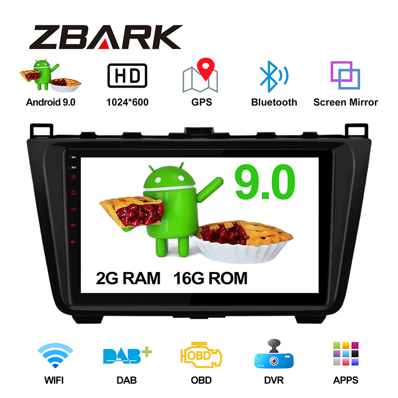 9inch RAM 2GB Android 9.0 Car Multimedia Stereo Radio Player for Mazda 6 Ultra Ruiyi 2008 2009 - 2012 GPS NO DVD YHMA6TK image