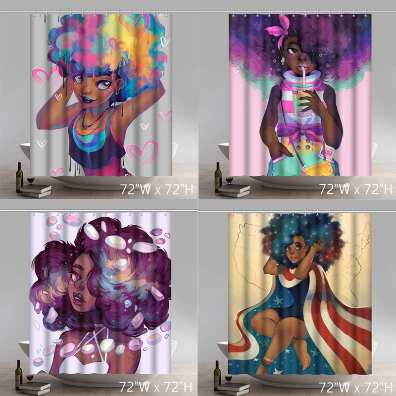 Personalized African American Women Beauty Sexy Lovely Black Girl Afrocentric Waterproof Bath Shower Curtain Set