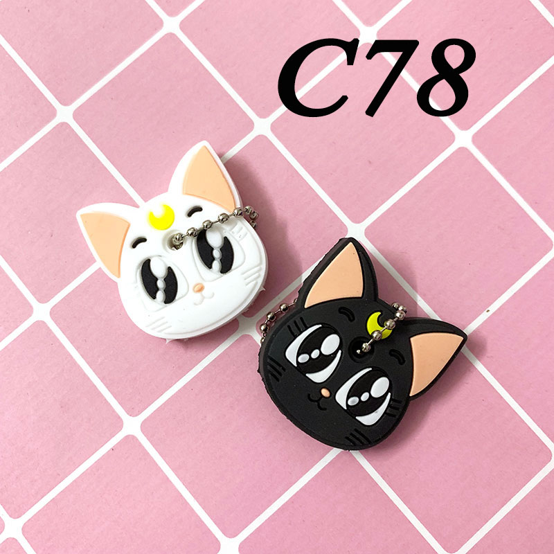 2 PCS/lot Cartoon Silicone Protective Keychain Case Cover for Key Control Dust Cartoon Keyrings Holder Organizer Home  Supplies 2