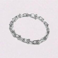 Bracelet poignet populaire pour femmes et hommes, bijou de mode, en acier inoxydable U rose or, style 2020