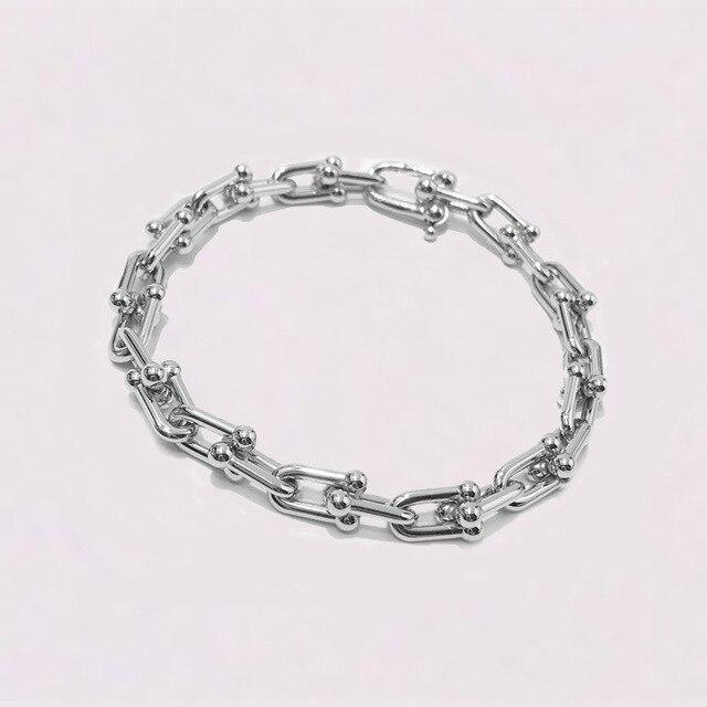 Japan Korea popular woman man cuff bracelet fashion jewelry 2020 new stainless steel bracelet U rose gold punk couple jewelry