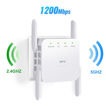 300M/1200M wireless repeater wifi signal amplifier routing enhancer extender wifi 5g repeater 4 antennas RJ45 port WPS relay/AP 1