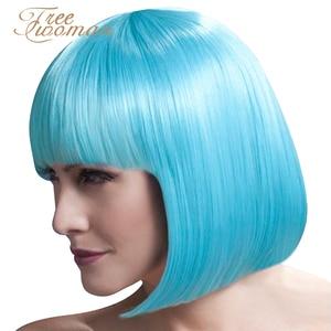 Парики FREEWOMAN для женщин, синтетические волосы из термостойкого волокна розового и черного цвета, с воздушной челкой, короткие, 12 дюймов