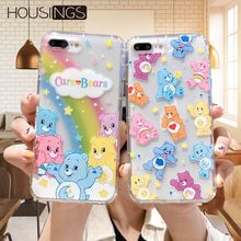 Cartoon Candy Bear Rainbow Phone Case For iPhone 7 8 Plus Clear Soft TPU Cover XR XS Max Shockproof